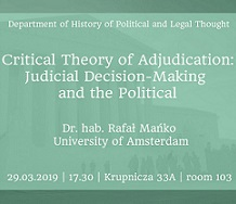 miniatura Critical Theory of Adjudication. Lecture by dr. hab. Rafał Mańko